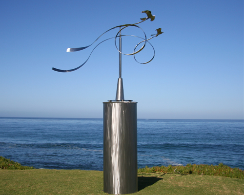 """Kinetic sculpture by Amos Robinson """"Crossing Paths"""" contemporary art stainless steel"""