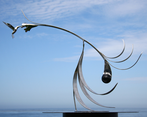 "Kinetic sculpture by Amos Robinson hummingbird ""The Kiss I"" contemporary art stainless steel"