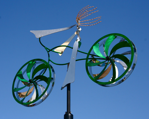 Kinetic bicycle sculpture by Amos Robinson contemporary art stainless steel