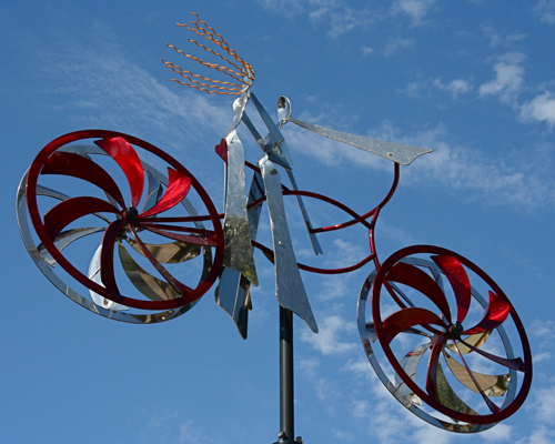 "Kinetic bicycle sculpture ""Sweethearts"" by Amos Robinson contemporary art stainless steel"