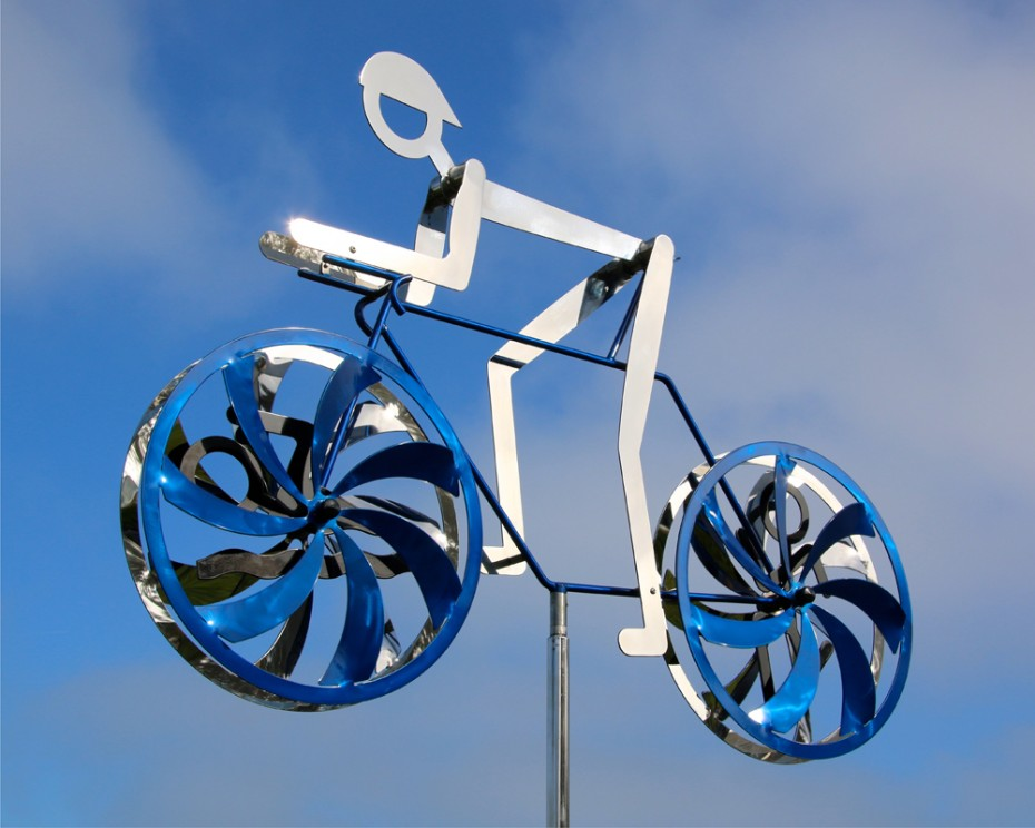 Personal Best Triathlete Kinetic Bicycle Sculpture by Amos Robinson contemporary art stainless steel