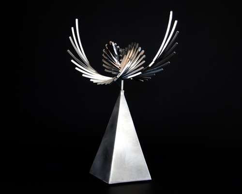 "Kinetic sculpture ""Guardian Angel"" by Amos Robinson contemporary art stainless steel"