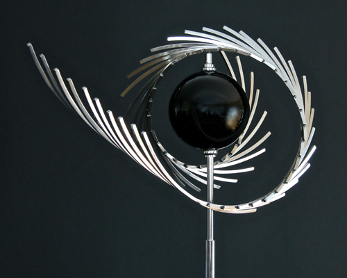 "Kinetic Sculpture ""Swept Away"" by Amos Robinson contemporary art stainless steel"