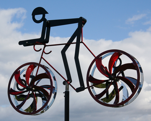 "Kinetic bicycle sculpture by Amos Robinson ""Personal Best-Triathlete"" contemporary art stainless steel"