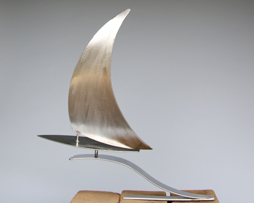 "Sailboat sculpture by Amos Robinson ""Reaching for the Wind"" contemporary art stainless steel"