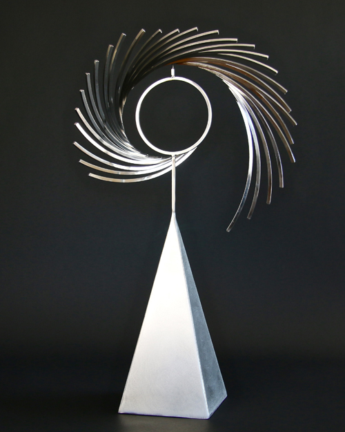 "Kinetic sculpture by Amos Robinson ""Astral Traveler I"" contemporary art stainless steel"