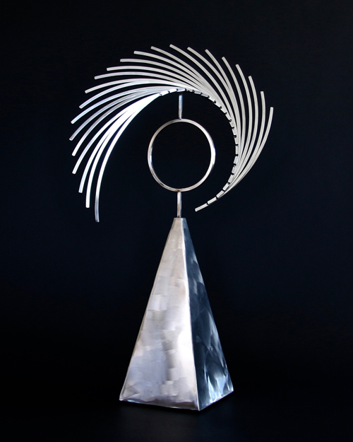 "Kinetic sculpture by Amos Robinson ""Astral Traveler II"" contemporary art stainless steel"