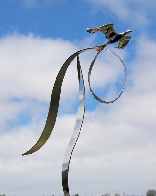 "Kinetic bird sculpture by Amos Robinson ""High Flyer"" contemporary art stainless steel"