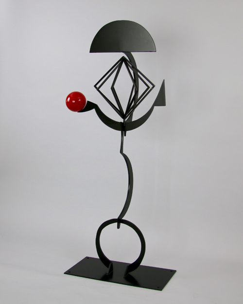 """Sculpture by Amos Robinson """"King"""" contemporary art stainless steel San Diego"""