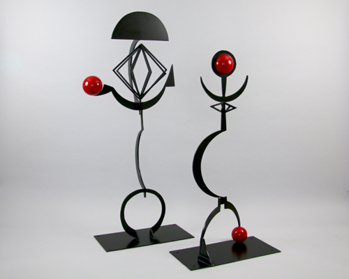 "Sculptures by Amos Robinson ""King+Queen"" contemporary art stainless steel San Diego"