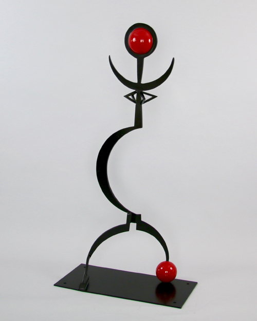 """Sculpture by Amos Robinson """"Queen"""" contemporary art stainless steel San Diego"""