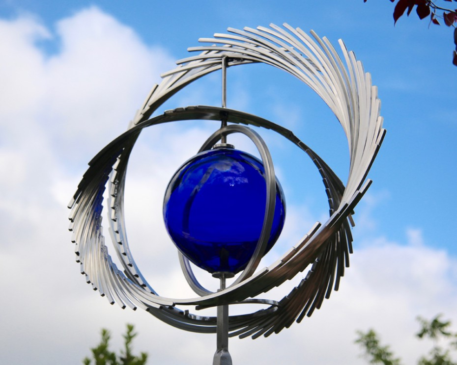 "Kinetic art by Amos Robinson ""Forever"" stainless steel and glass sculpture contemporary art"