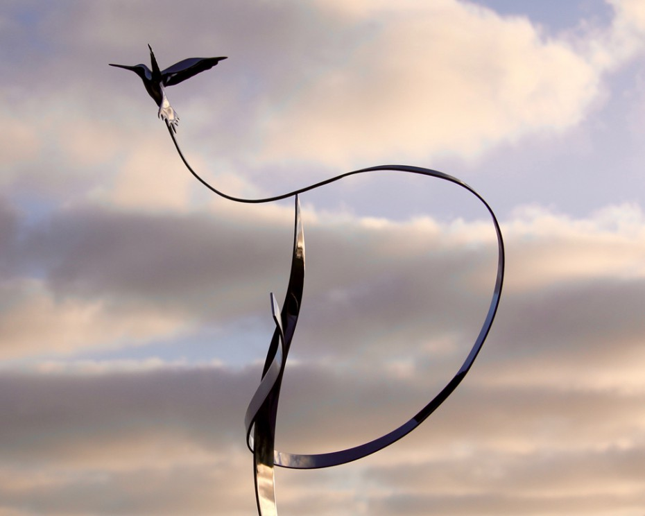 Kinetic art mobile by Amos Robinson hummingbird in flight stainless steel contemporary art