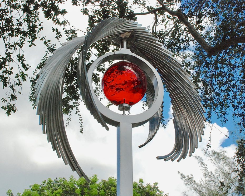 Kinetic sculpture by Amos Robinson Revelation stainless steel glass LED light contemporary art