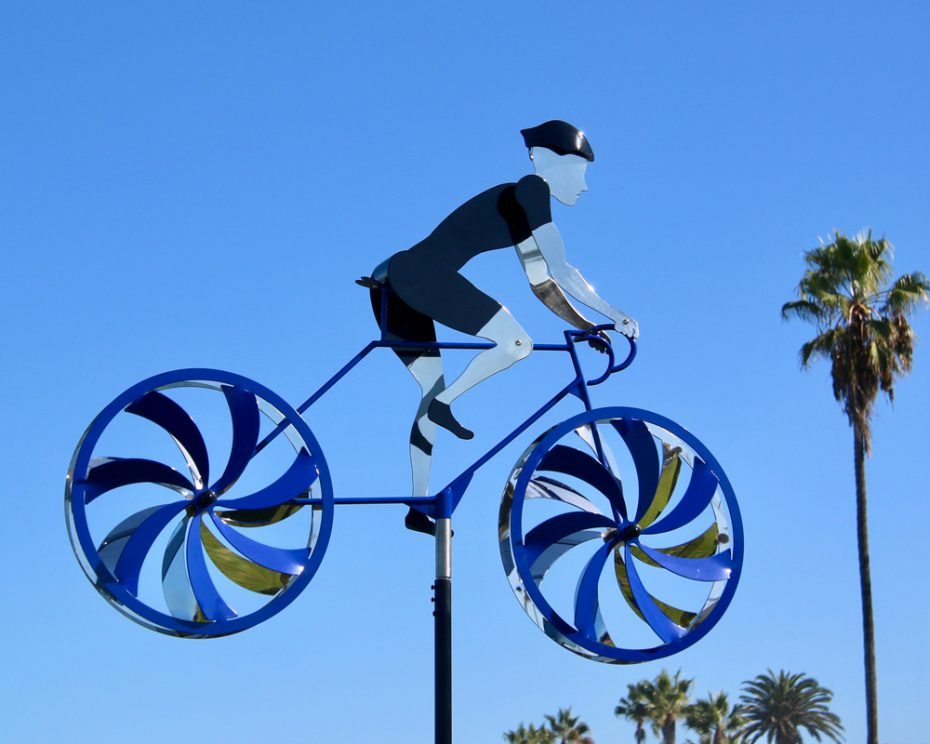 Kinetic bicycle sculpture by Amos Robinson stainless steel contemporary art