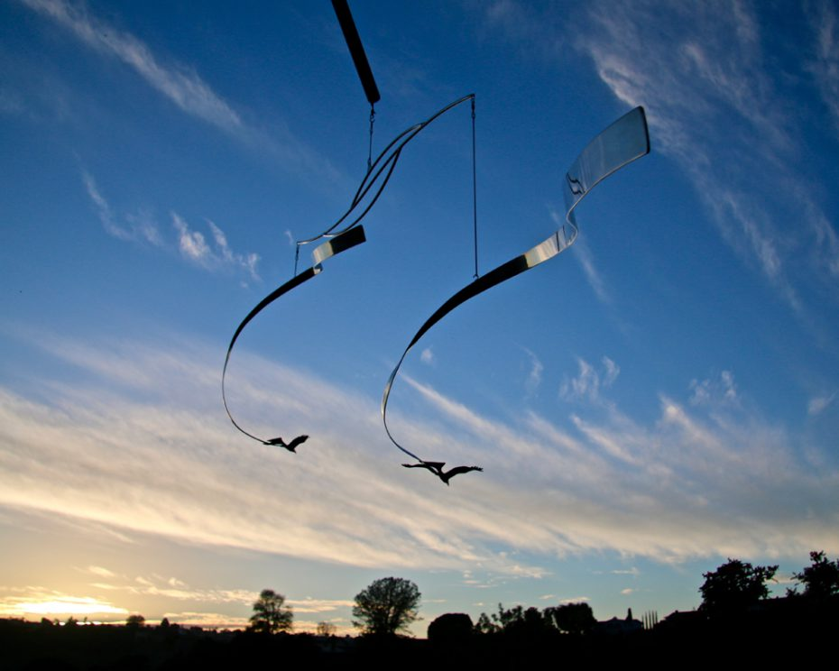 Mobile by Amos Robinson Eagles in Flight stainless steel contemporary art