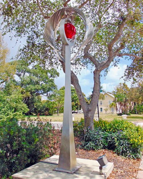 Kinetic art by Amos Robinson Revelation stainless steel contemporary public art