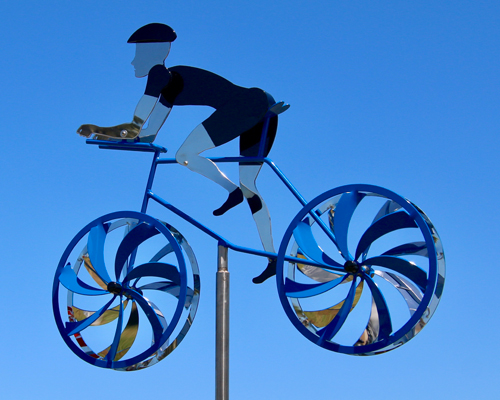 Kinetic art by Amos Robinson Male Road Racer stainless steel contemporary bicycle art
