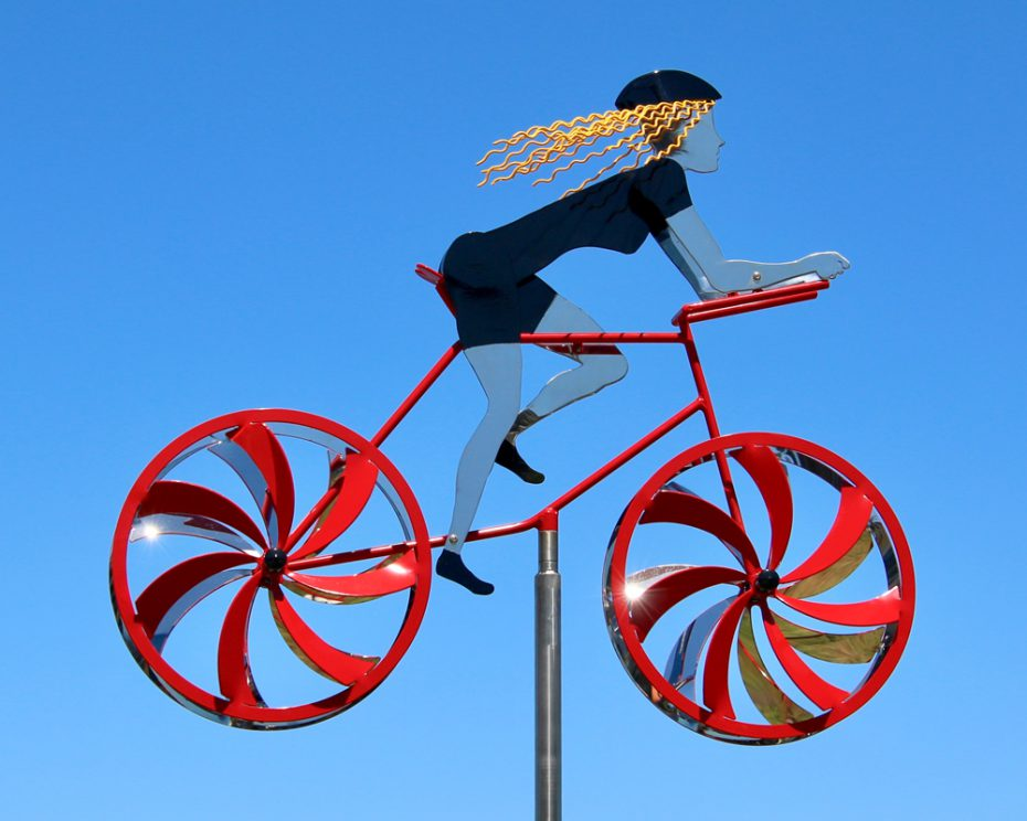 Kinetic bicycle sculpture by Amos Robinson Female Road Racer stainless steel contemporary art
