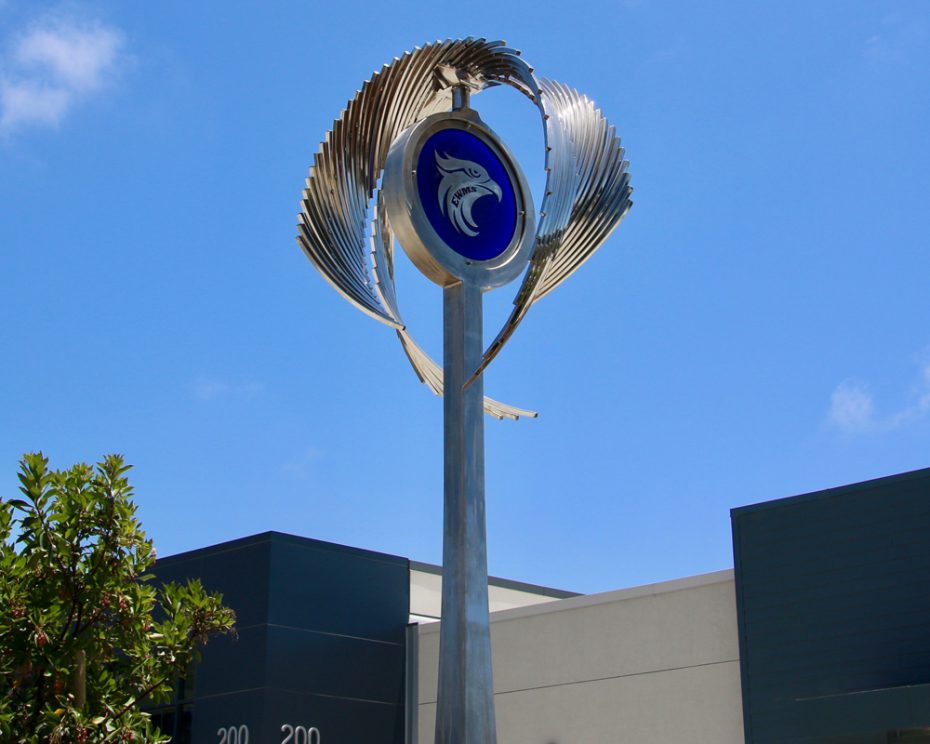 Kinetic art by Amos Robinson The Seahawk stainless steel contemporary art