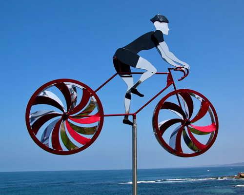 Kinetic Art by Amos Robinson Road Racer Male Cyclist Stainless Steel Contemporary Art