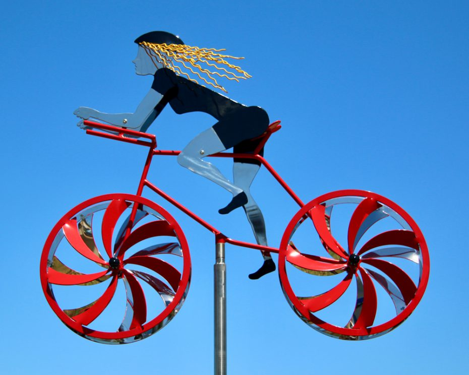 Kinetic art by Amos Robinson Road Racer Female Cyclist Stainless Steel Contemporary Art