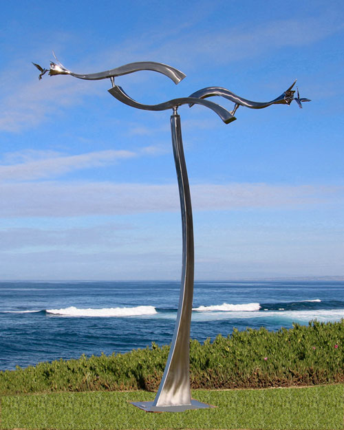Kinetic sculpture by Amos Robinson Jewels Flying Hummingbirds stainless steel contemporary art