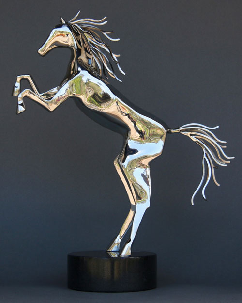 Sculpture by Amos Robinson Spirit Horse with down tail contemporary art stainless steel