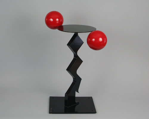 "Side table by Amos Robinson ""Let the Good Times Roll"" contemporary art stainless steel"