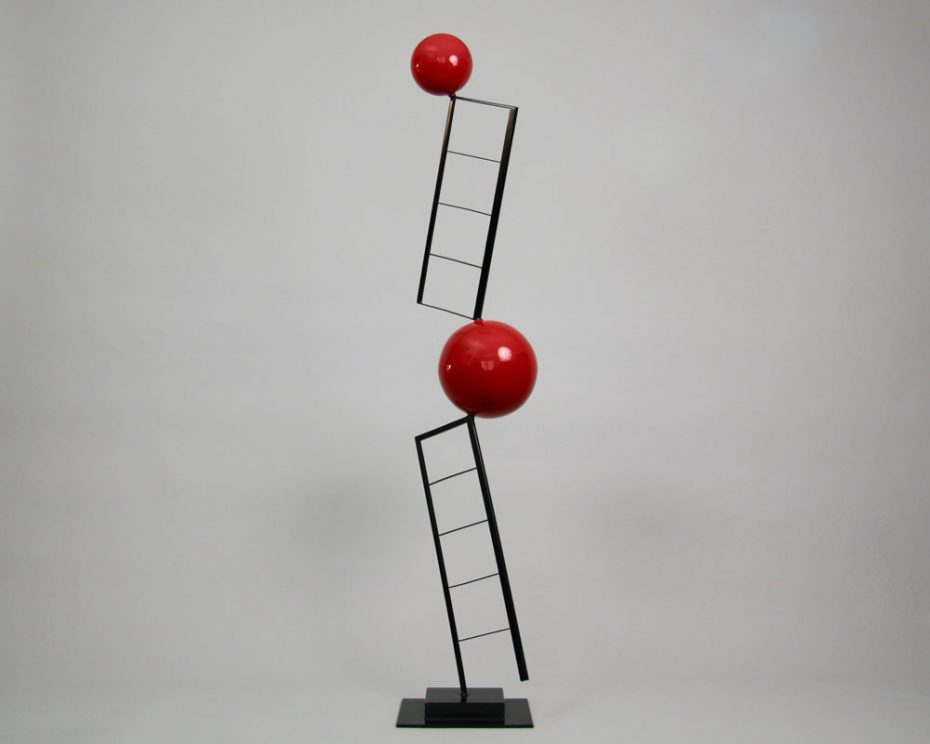 Sculpture by Amos Robinson 4-1-4-1 contemporary art stainless steel black and red