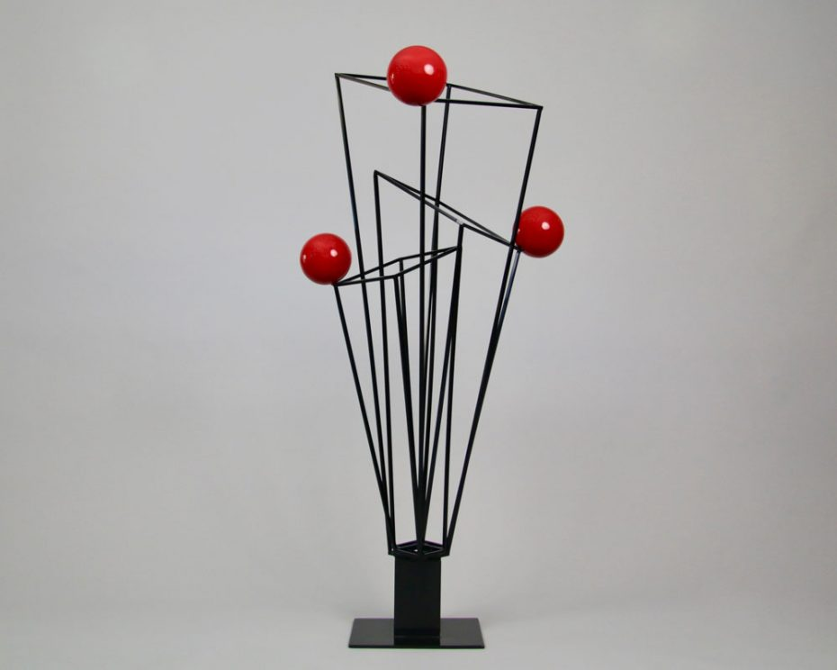 Sculpture by Amos Robinson Prisms+3 contemporary art stainless steel black and red