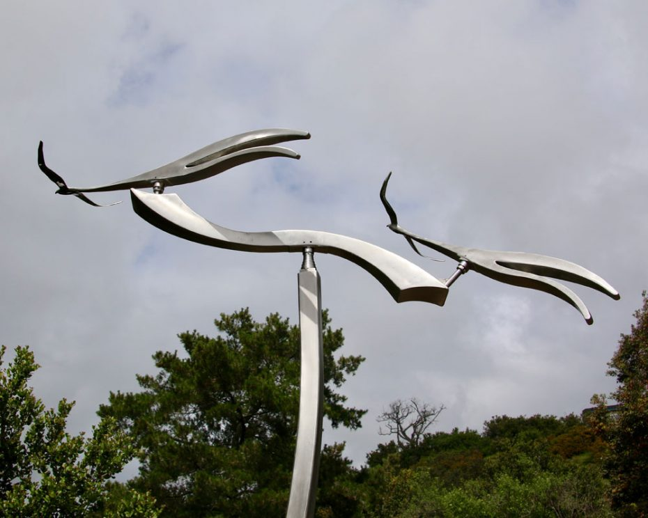 Kinetic art by Amos Robinson Scissortails contemporary art stainless steel birds in flight