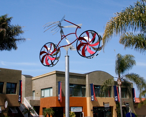 "Kinetic bicycle sculpture ""Love My Bike"" by Amos Robinson contemporary art stainless steel"