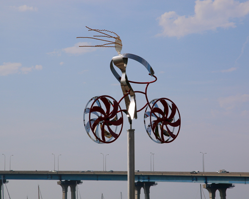 "Kinetic bicycle sculpture ""My Bike"" by Amos Robinson contemporary art stainless steel"