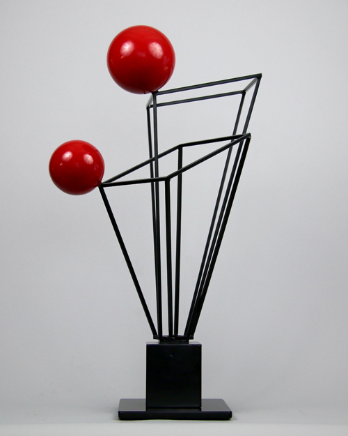 Sculpture by Amos Robinson Black and Red Series contemporary art stainless steel San Diego artist