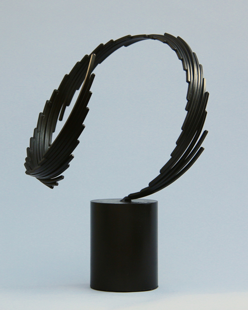 "Sculpture by Amos Robinson ""Black Feather Falling"" contemporary art steel"