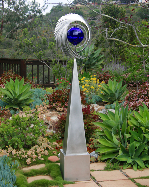 "Kinetic sculpture by Amos Robinson ""Continuum"" contemporary art stainless steel and glass San Diego artist"