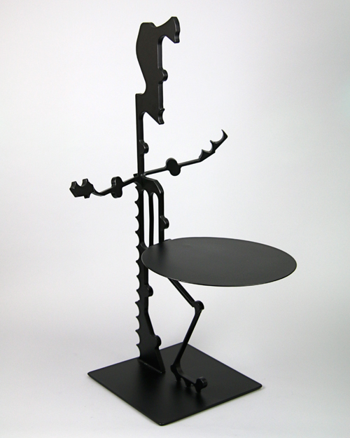 "Sculpture with tabletop by Amos Robinson ""Elvis"" contemporary art stainless steel San Diego studio"