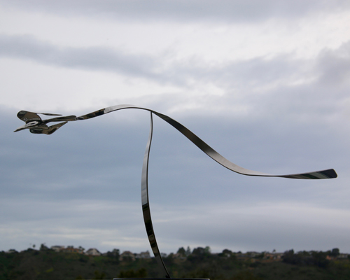 "Kinetic sculpture by Amos Robinson ""Falcon in Flight"" contemporary art stainless steel San Diego artist"