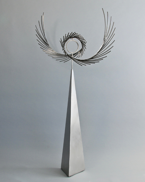 "Kinetic sculpture by Amos Robinson ""Grace"" contemporary art stainless steel San Diego"