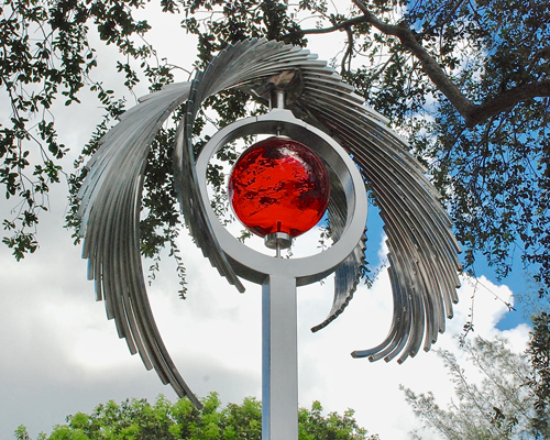 Kinetic art by Amos Robinson Revelation stainless steel glass LED light contemporary art