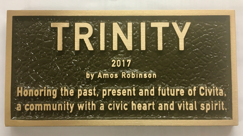 Plaque for Trinity sculpture at Civita in San Diego, CA
