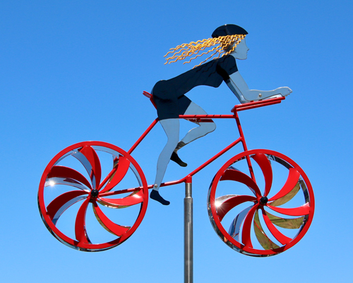 Kinetic art by Amos Robinson Female Road Racer stainless steel contemporary bicycle art
