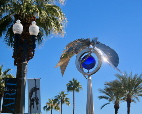 Kinetic art by Amos Robinson Bluebird stainless steel and glass contemporary art