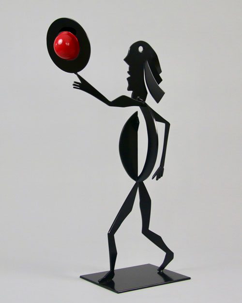 Sculpture by Amos Robinson Eureka stainless steel contemporary art black and red