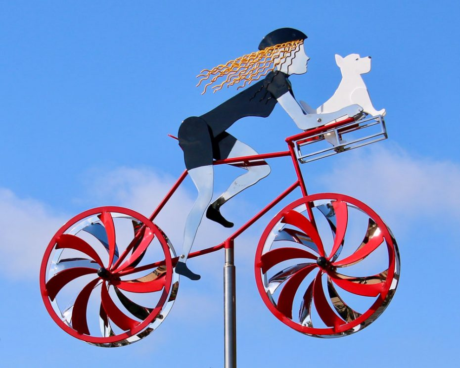 Kinetic bicycle sculpture by Amos Robinson Nellies Ride contemporary stainless steel art