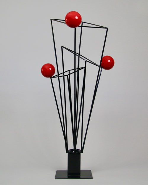 Sculpture by Amos Robinson Prisms+3 stainless steel contemporary art black and red