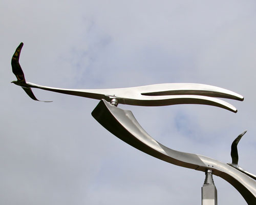 Scissortail kinetic art by Amos Robinson stainless steel contemporary art