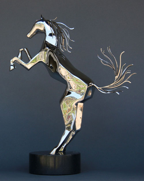 Sculpture by Amos Robinson Spirit Horse with up tail contemporary art stainless steel