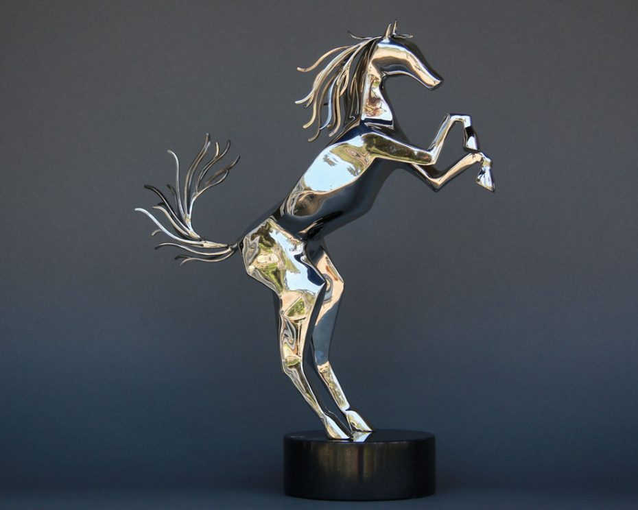 Sculpture by Amos Robinson Spirit Horse contemporary art stainless steel